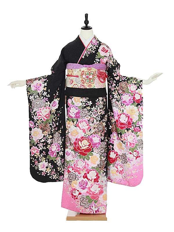 振袖0083 黒 バラ/花模様