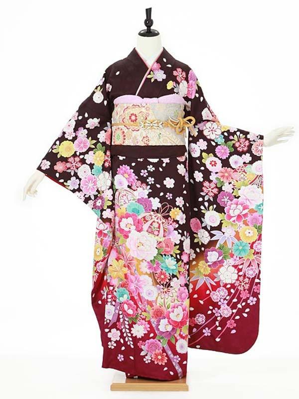 振袖0107 紫 桜/鞠/花模様