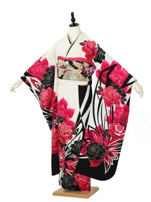 振袖0127 黒 白 ピンク バラ