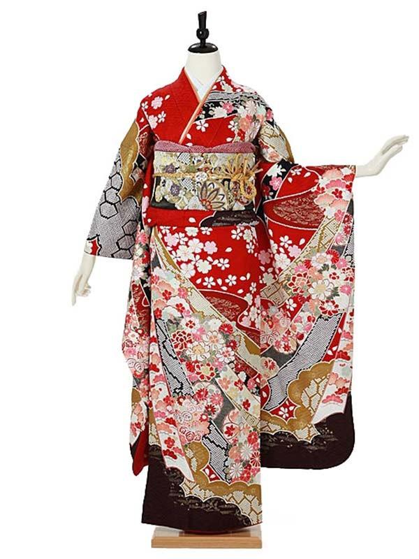 振袖0093 赤 桜/熨斗/絞り柄/古典