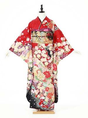 振袖0105 赤 桜/鞠/牡丹/古典