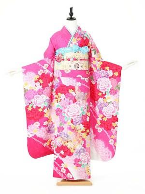 振袖0117 ピンク バラ/蝶/レース柄