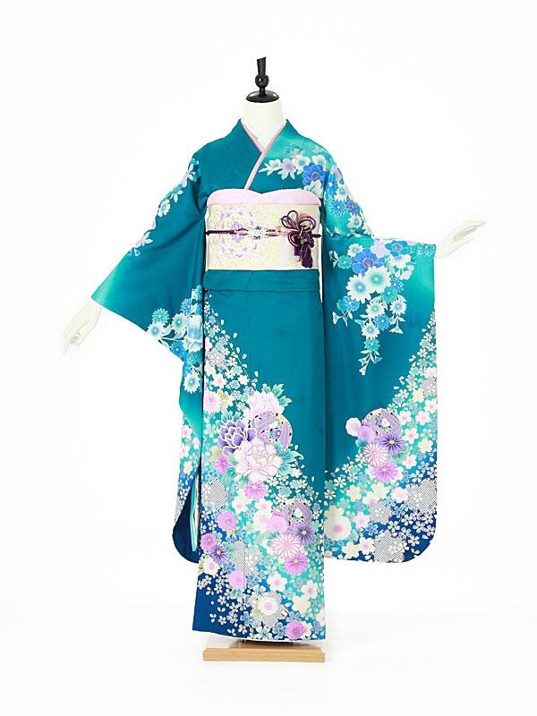 振袖0114 青 牡丹/鞠/桜