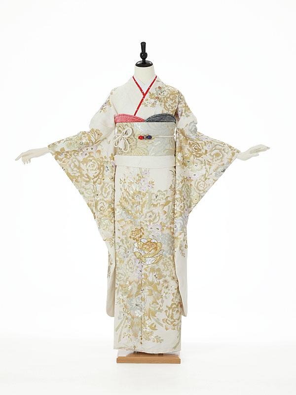 振袖0045 白 桂由美/バラ/花模様