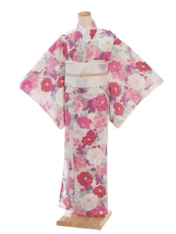 夏小紋レンタル0074白地ピンク八重椿(化繊 絽 夏)