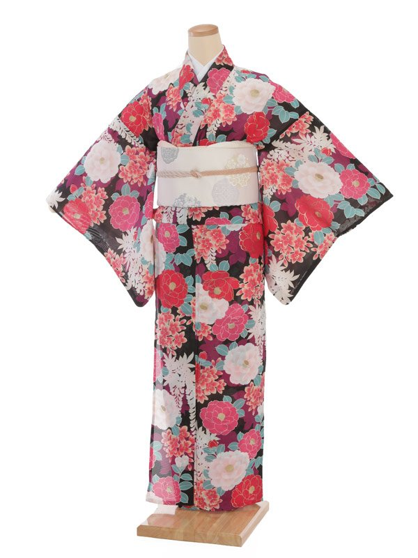 夏小紋レンタル0082黒地ピンク八重椿(化繊 絽 夏)