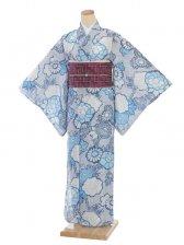 夏小紋レンタル0069濃ブルー地花柄(化繊 絽 夏)