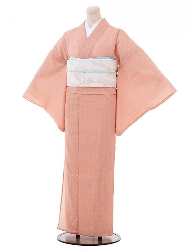 夏小紋t632 ピンク水玉(化繊 絽 夏)