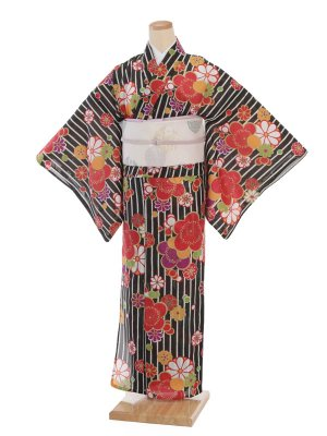 夏小紋レンタル0079黒地縞花(化繊 絽 夏)