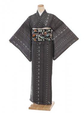夏小紋レンタル0072黒かすり柄(化繊 絽 夏)