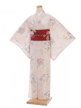 夏小紋レンタル0067ピンク地花(化繊 絽 夏)