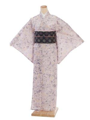 夏小紋レンタル0073ピンク地小枝柄(化繊 絽 夏)