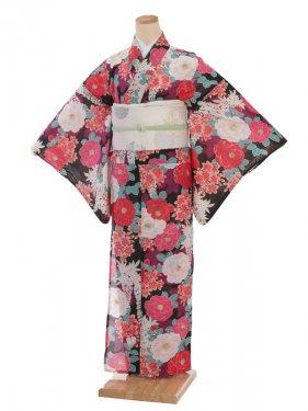 夏小紋レンタル0081黒地ピンク八重椿(化繊 絽 夏)