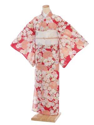 夏小紋レンタル0077赤地オレンジ花(化繊 絽 夏)