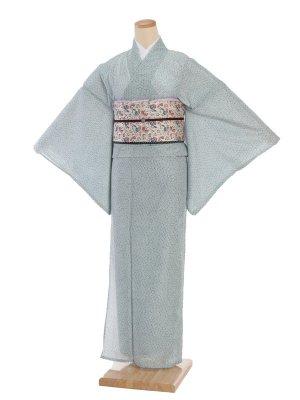 夏小紋レンタル0071グリーン小梅柄(化繊 絽 夏)