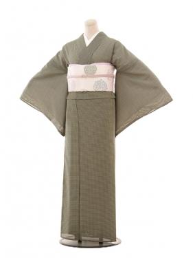 夏小紋590 黒格子(化繊 絽 夏)