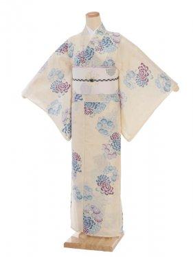 夏小紋レンタル0070淡黄色花(化繊 絽 夏)