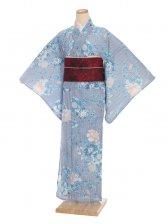 夏小紋レンタル0063ブルー縞に花(化繊 絽 夏)