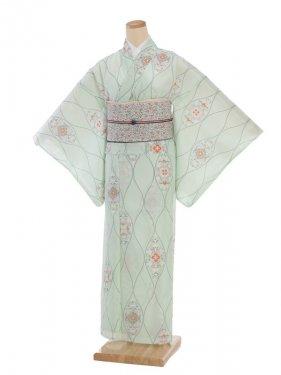 夏小紋レンタル0068グリーン花(化繊 絽 夏)