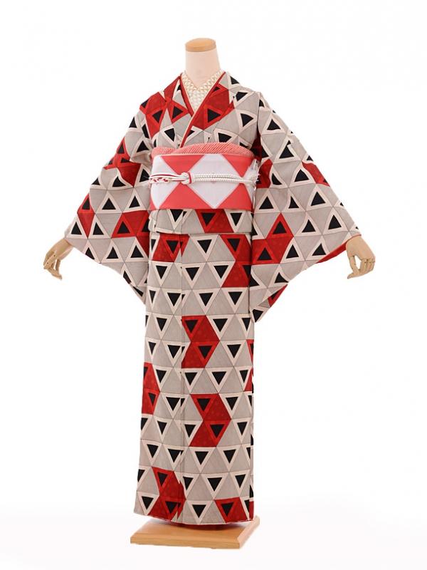 小紋603(化繊)モダンアンテナ 赤黒デルタ