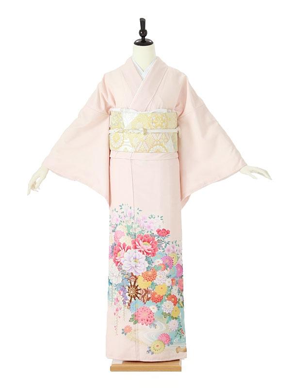 色留袖0005 薄ピンク 四季の花