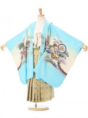 七五三(5歳男) 水色 龍兜に松竹梅/金襴 丸紋