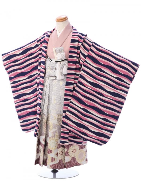 七五三(5歳男)5946 ピンク×紫×紺/白銀ぼかし 正倉院