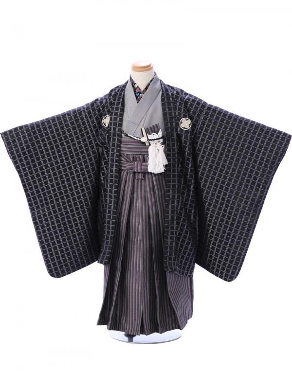 七五三(5歳男)5916黒×紫格子/紫縞袴