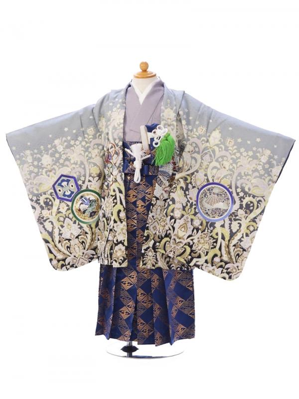 七五三(5歳男)5006グレー 鷹 青紺袴