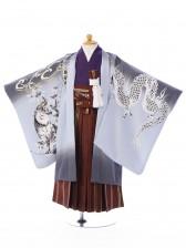 七五三(5歳男)5003グレー 龍虎 えび茶縞袴
