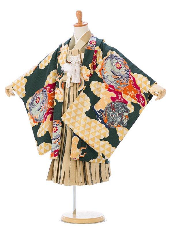 七五三(5歳男)5910緑 龍/ベージュ縞袴