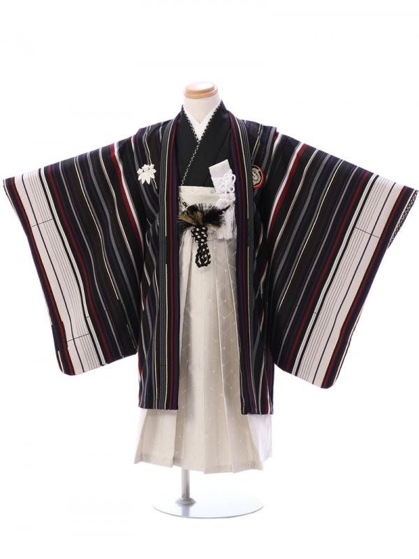 七五三(5歳男)5914黒×ストライプ/クリーム袴