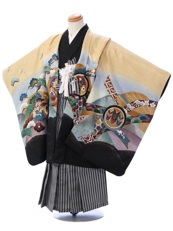 七五三(5歳男)5954 金茶 兜/縞袴