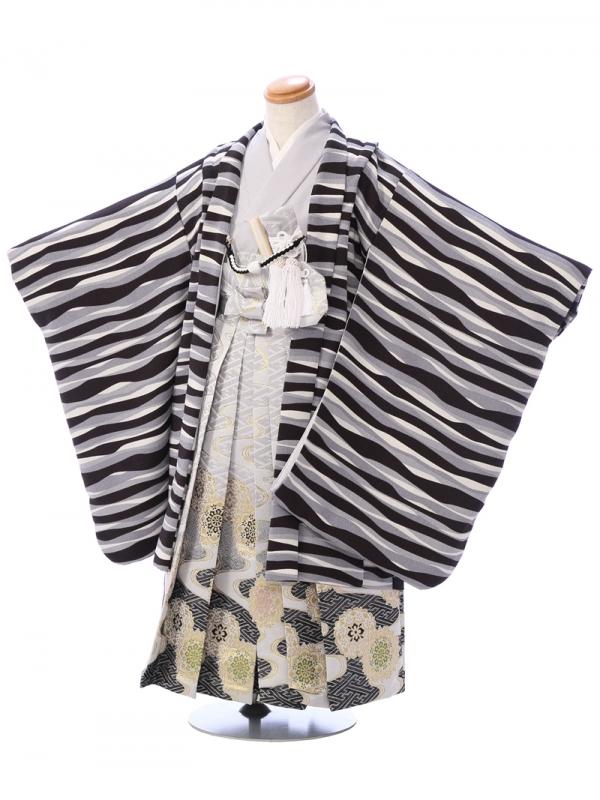 七五三(5歳男)5947 黒×グレー/白銀ぼかし 正倉院