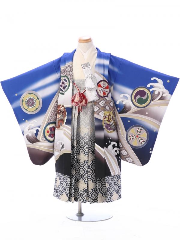 七五三(5歳男)5918青 鷹に龍/紺×グレー菱袴