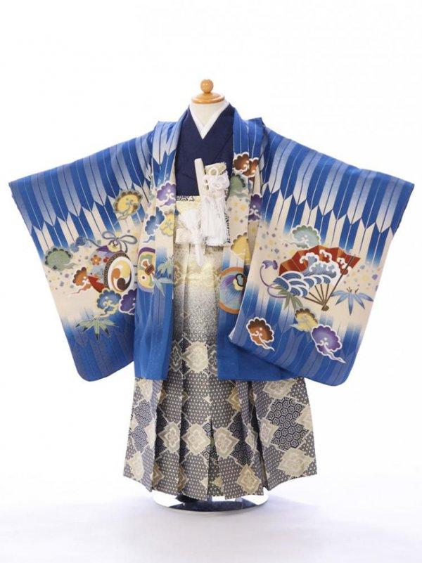 七五三(5歳男)5830青×クリーム 矢絣 袴