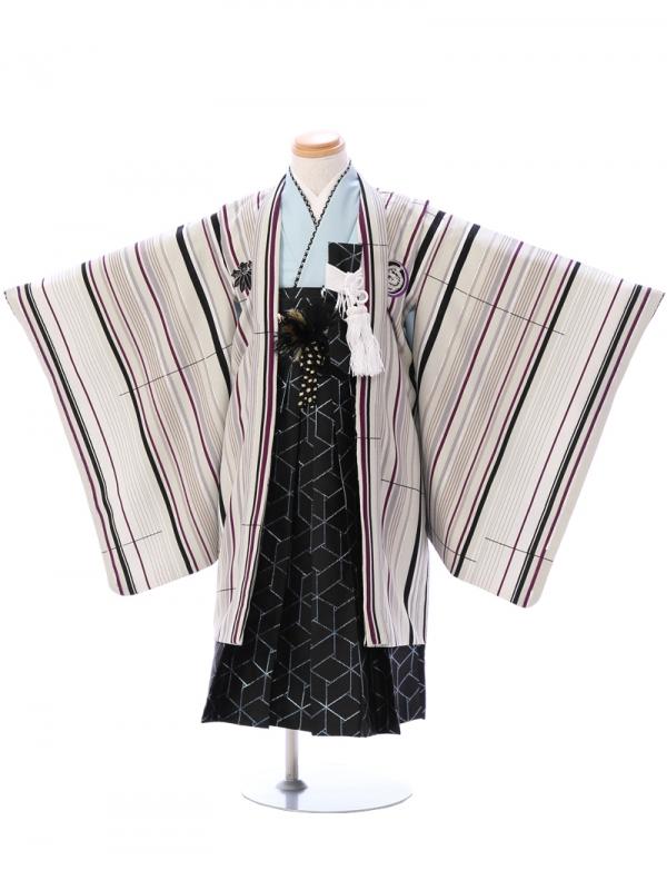 七五三(5歳男)5915グレー×ベージュ/黒袴