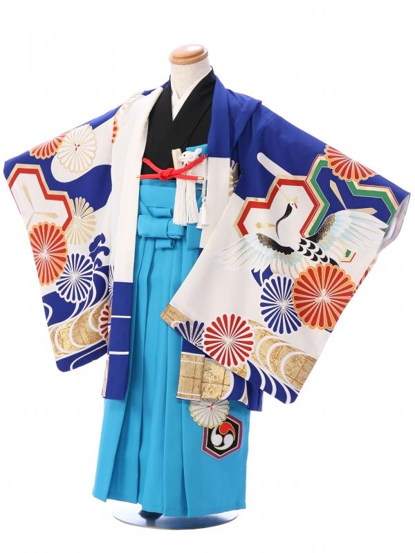 七五三(5歳男)5966 ブルー鶴に菊紋/水色 亀甲菊紋刺繍
