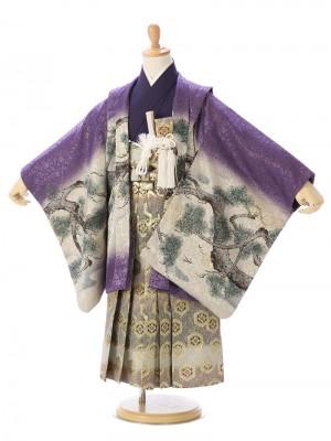 七五三(5歳男)5696 紫ぼかし 鷹に松/グリーン×黒×エンジ 亀甲紋 金襴
