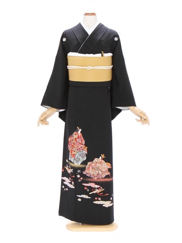 黒留袖320能装束に小花散らし