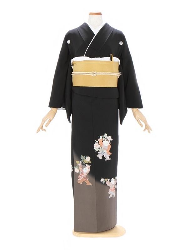 黒留袖485裾オリーブグリーンに唐子人形