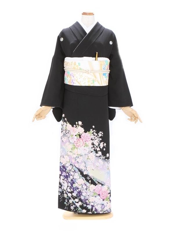 黒留袖541虹色バラの花