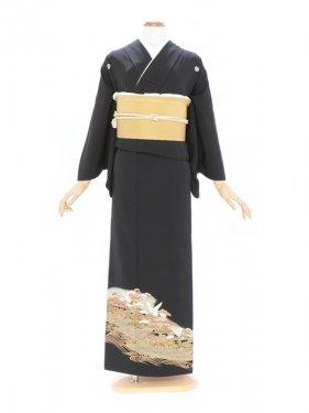 黒留袖370波に小松 鶴(ミク)