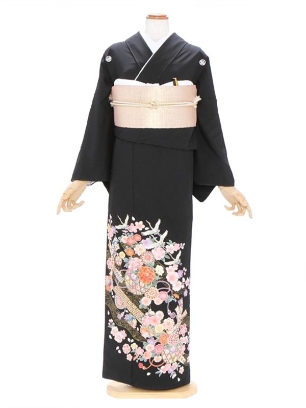 黒留袖526のしめに手まり四季の花柄