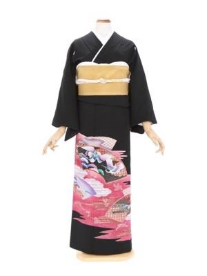 黒留袖218雲どり扇面の中に鶴(ミク)