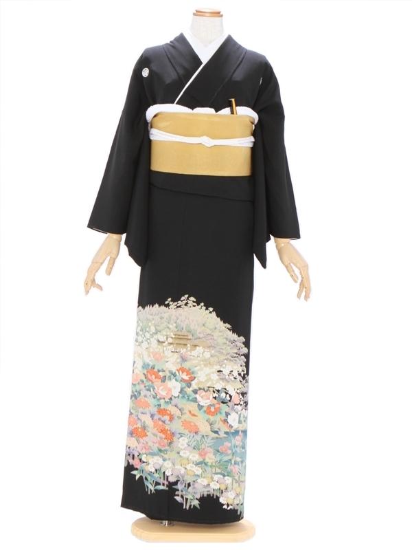 黒留袖460加賀染め 椿 小菊 笹りんどう 山