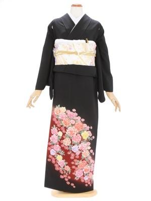 黒留袖528洋バラ花柄