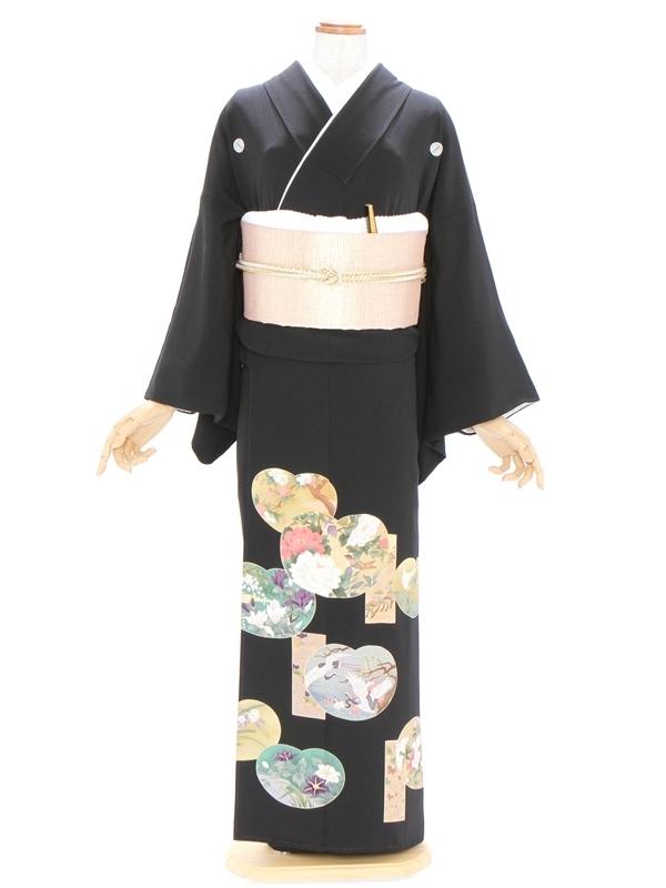 黒留袖475丸紋に四季の花 鶴