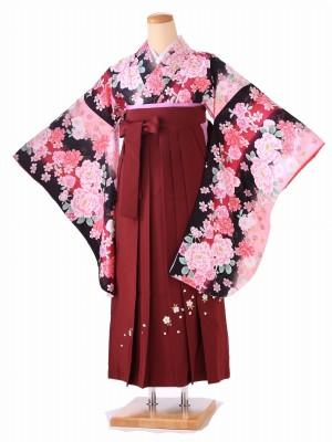 卒業式 女袴  H053 黒 牡丹