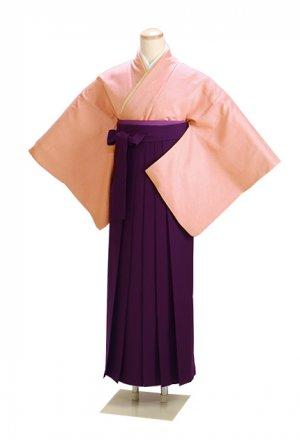 卒業式袴 正絹 ピンク L103 紫袴【身長165cm位】